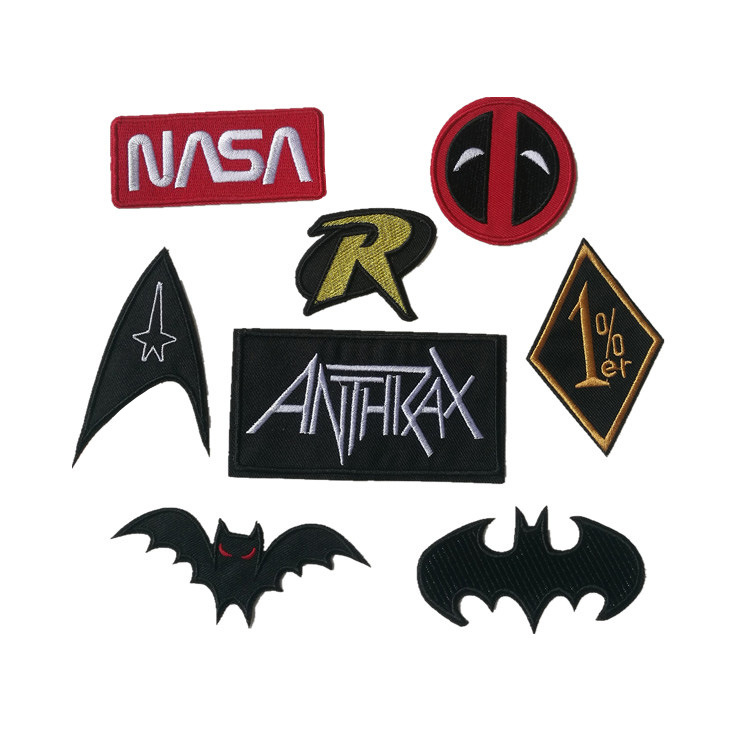1Pcs Embroidered Cloth Patches Bat Letter Signs Iron on Sew on Computer Embroidery Stickers DIY Patch for Clothing Ironing Badge