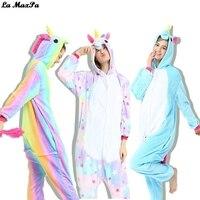 Cartoon Animal Onesie Kigurumi Pajamas Cosplay Costume Blue Pink Rainbow Star Pegasus Unicorn Adult Women Flannel