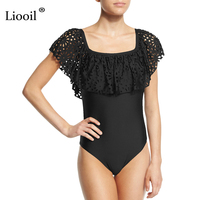 Liooil New Hollow Out Sexy Bodysuit Square Neck Patchwork Hole Skinny Bodycon Jumpsuit Summer Beach Wear