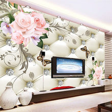 Custom 3D Mural Wallpaper European Style Rose Flower Pattern Diamonds Wall Painting Living Room TV Background Leather Wallpaper(China)