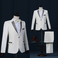 free shipping Korean Men stage suits theatrical costumes studio theme nightclub singer host with Sequins 2 piece set black white