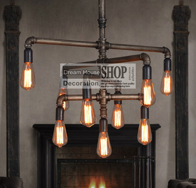 Water Pipe Lamps Black Or Br Finished 110v 220v E27 9 Arm Iron Chandelier