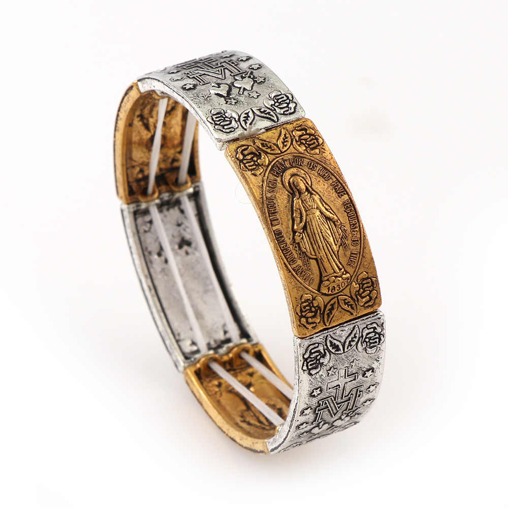 Elasticated Gold and Silver Alloy Small Square Catholic Saints Bracelet & Bangle