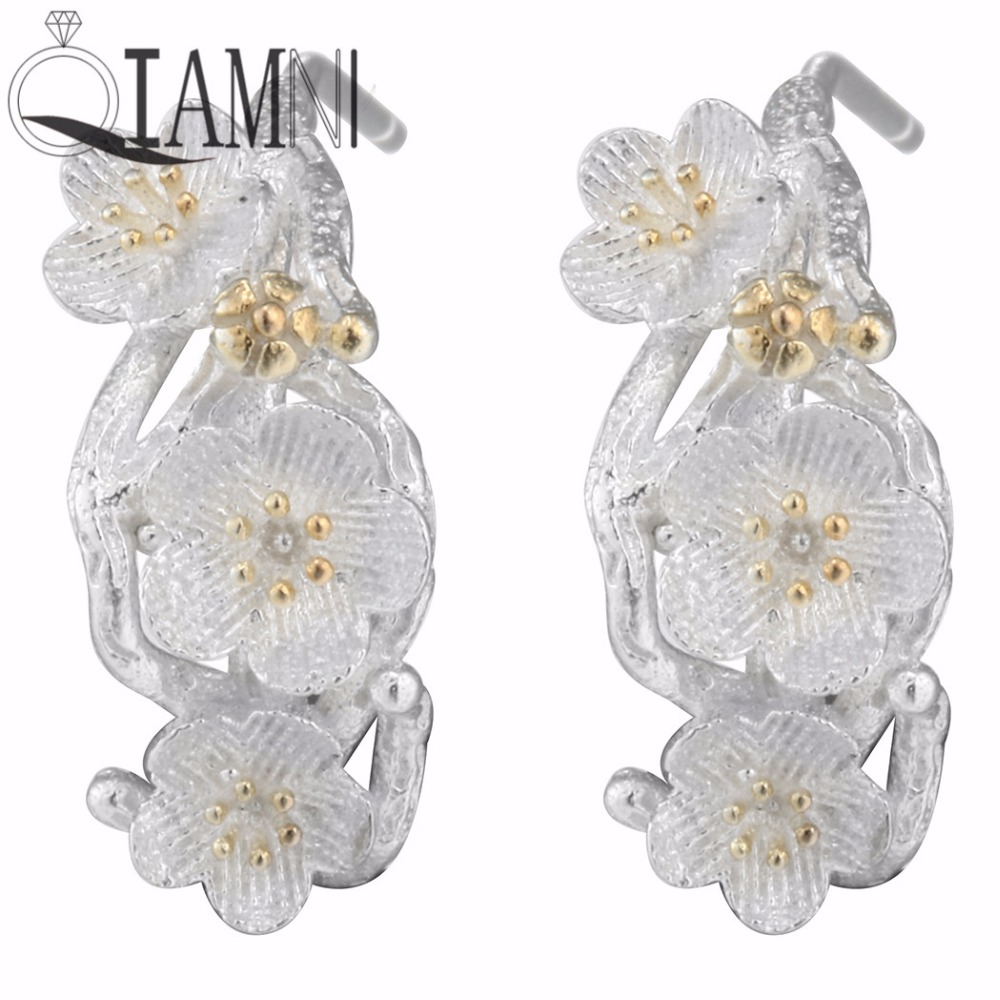 7ae3df7ff QIAMNI 925 Sterling Silver Plum Flower Blossoms Branch Stud Earring  Christmas Party Gifts Jewelry for Women Girls Pendientes