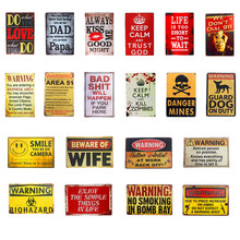 Warning No Smoking Life Keep Calm Danger Guard Dog Vintage Metal Tin Sign Wall PlaqueCoffee Bar Restaurant Shop Home Wall Decor(China)