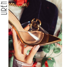Liren Transparent PVC Summer High Heel Sandals Women Open Toe Sexy Solid Pointed Shoes Gold Size 35-40