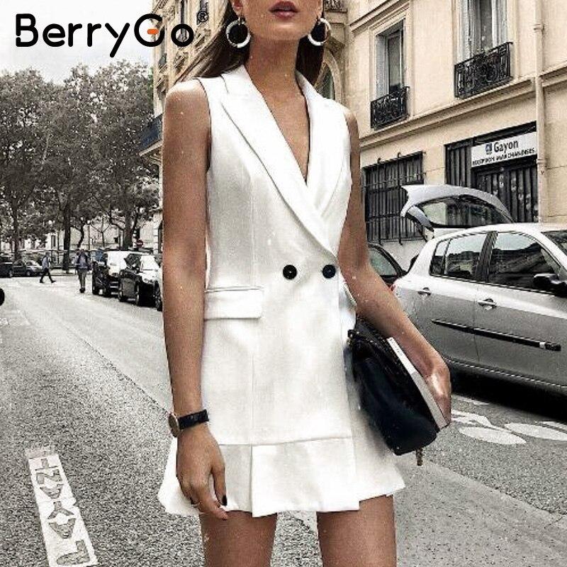 BerryGo Белый пиджак платье женщин V-образным вырезом с рюшами и линиями тонкое платье без рукавов Офисные женские короткие белые платья vestidos