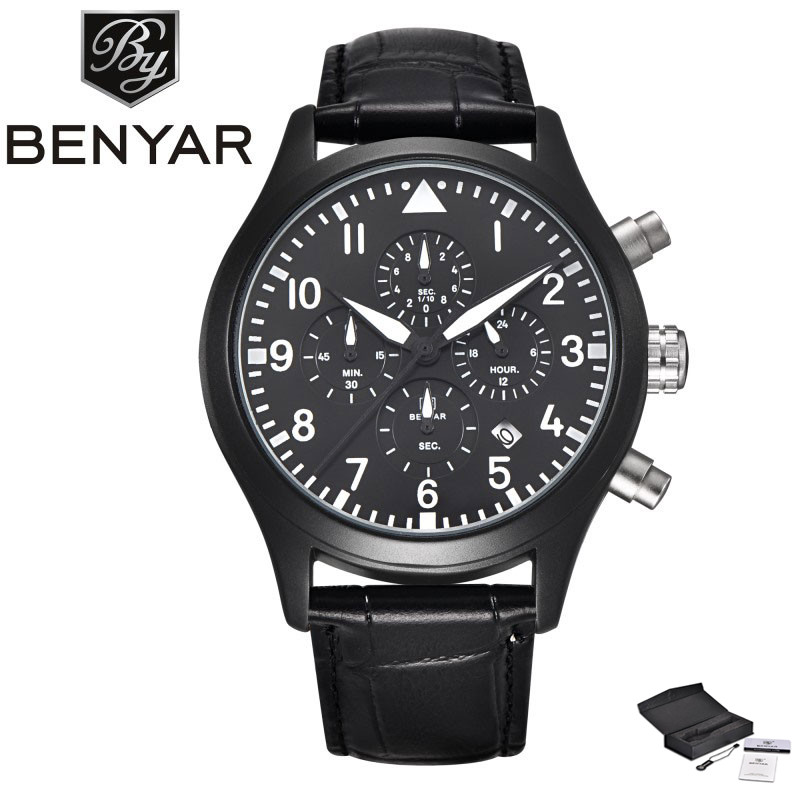 BENYAR Luxury Fashion Casual Men's Wristwatch Chronograph Date Design Dial Sport Cost-effective Outdoor Watch relogio masculino forsining luxury mmechanical men wristwatch genuine leathe band unique design dial cost effective male casual fashion watch