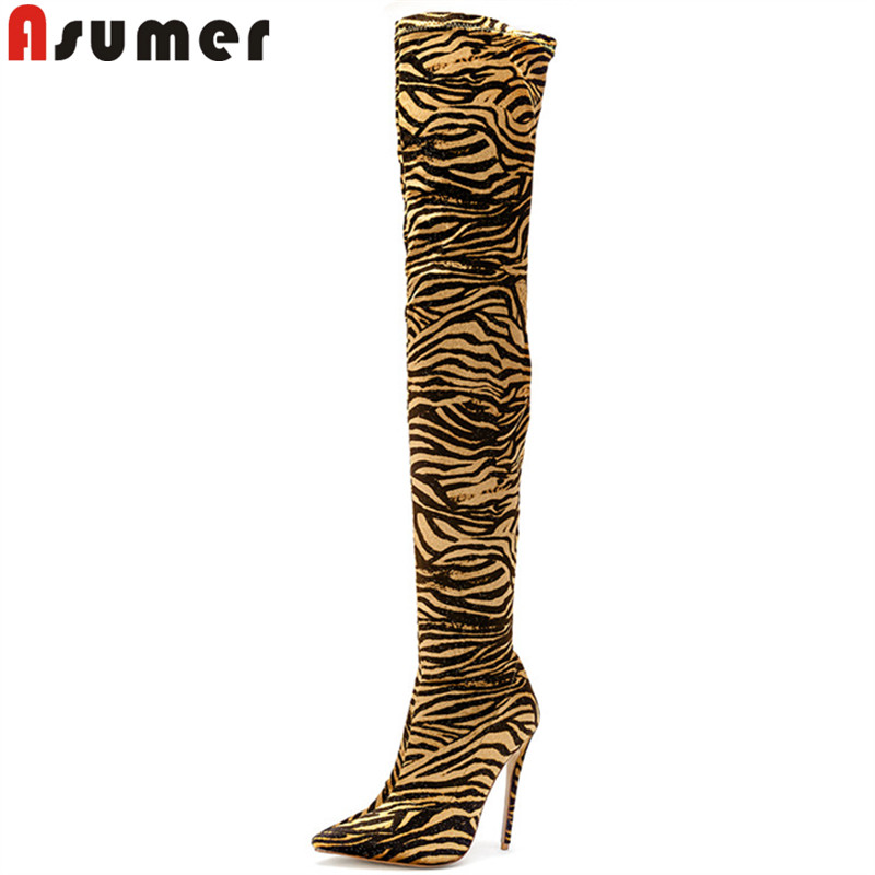 купить ASUMER 2018 fashion autumn winter boots pointed toe over the knee boots flock thin high heels boots classic thigh high boots недорого