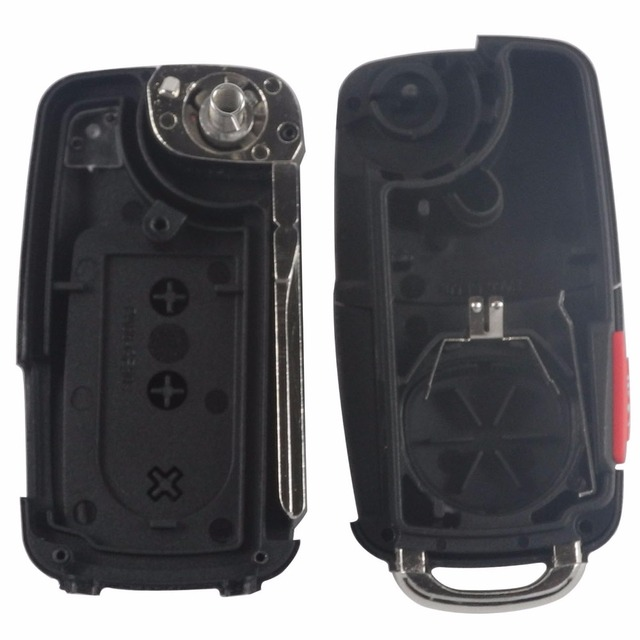 Jingyuqin 5 pçs/lote Flip Remoto Chave Shell fit for VW Touareg 3 + 1 4 Botões Switchblade Virar Caso Fob