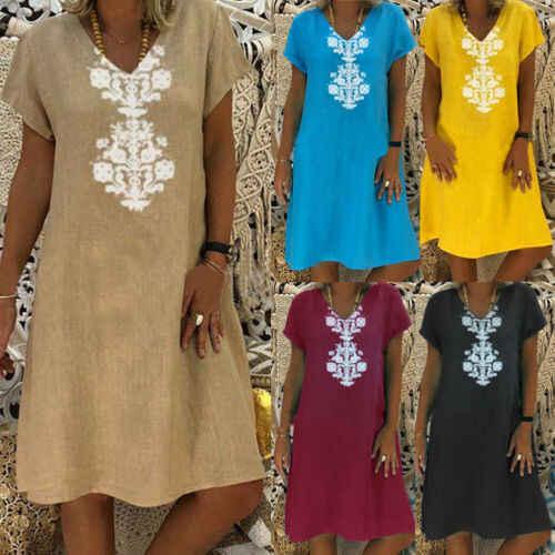 Plus Size Womens Verão Boho Kaftan Casuais Solta Mini Vestido Das Senhoras Vestidos Curtos