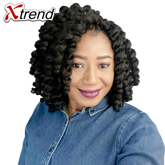 Xtrend 8Inch 20 Roots Jumpy Wand Ombre Crochet Braids Synthetic Kanekalon Jamaican Bounce Curly Hair Extensions