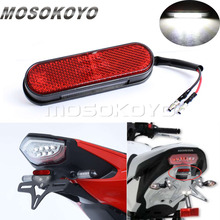 EMAEK E9 Red Reflector LED License Plate Light White Tail Brake Lamp for Kawasaki Z750 Z800 Z900 Yamaha YZF Suzuki Honda