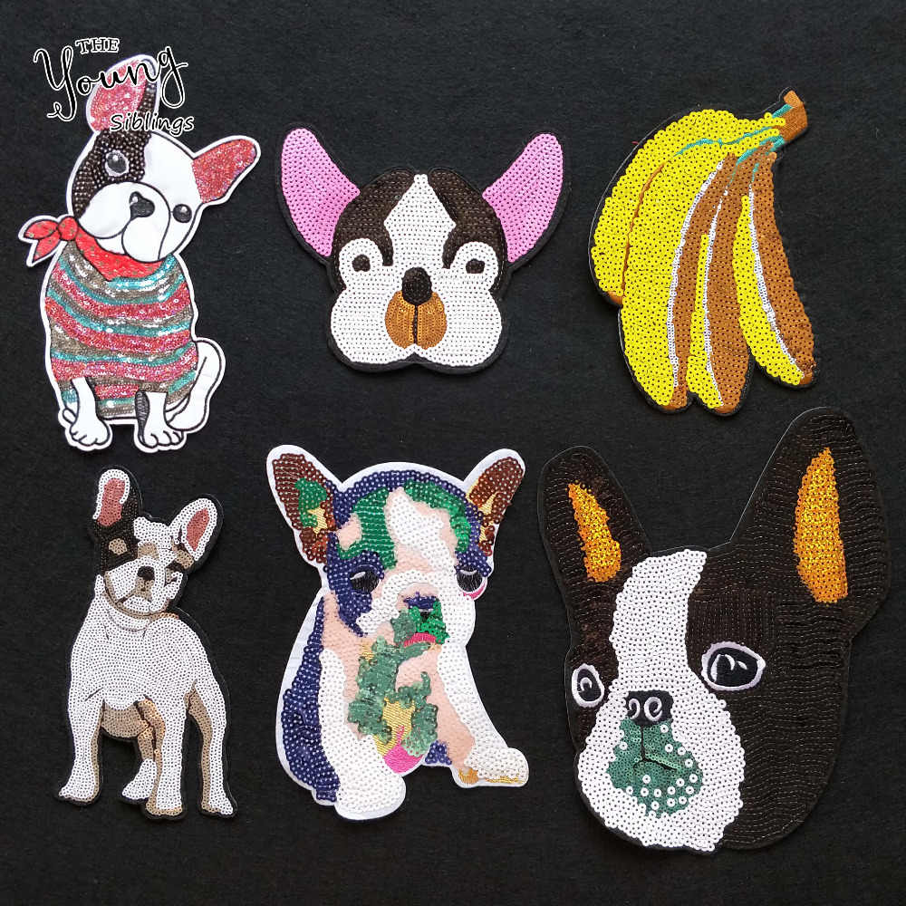 New large size Sequins glittering dog banana Hot melt adhesive Patches For Clothes Stickers badge DIY Apparel Accessory