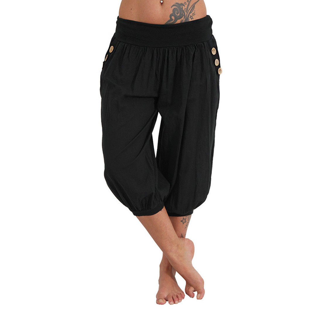 TFGS Women Solid Casual Loose   Pants   Low Waist Wide Leg   Pants     Capri     Pants   Trousers