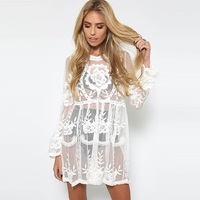 618f3612ac412e Women Sexy Boho Embroidery Perspective Beach Tunic Loose Lace Pareo Summer  Short Dress Cape Cover Casual