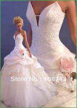 free shipping 2013 new style hot sale high quality bride dress sweet princess Custom size handmade flowers tiered wedding dress цена