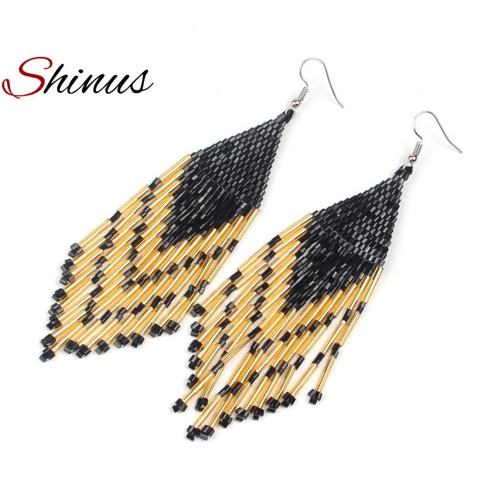Shinus Earrings Hanging Earring Women Boho Brincos Tassel Jewelry Earings Statement Boucle doreille Fashion Seed Beads Handmade