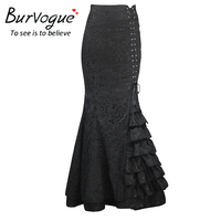 Burvogue 2016 High Waist Bodycon Long Skirts Fishtail Lace Up Slim Vintage Trumpet Skirts Stylish Long