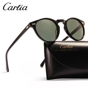 Image 4 - Carfia偏光サングラスクラシックブランドデザイナーグレゴリーつつくヴィンテージサングラス男性の女性ラウンドサングラス 100% UV400 5288