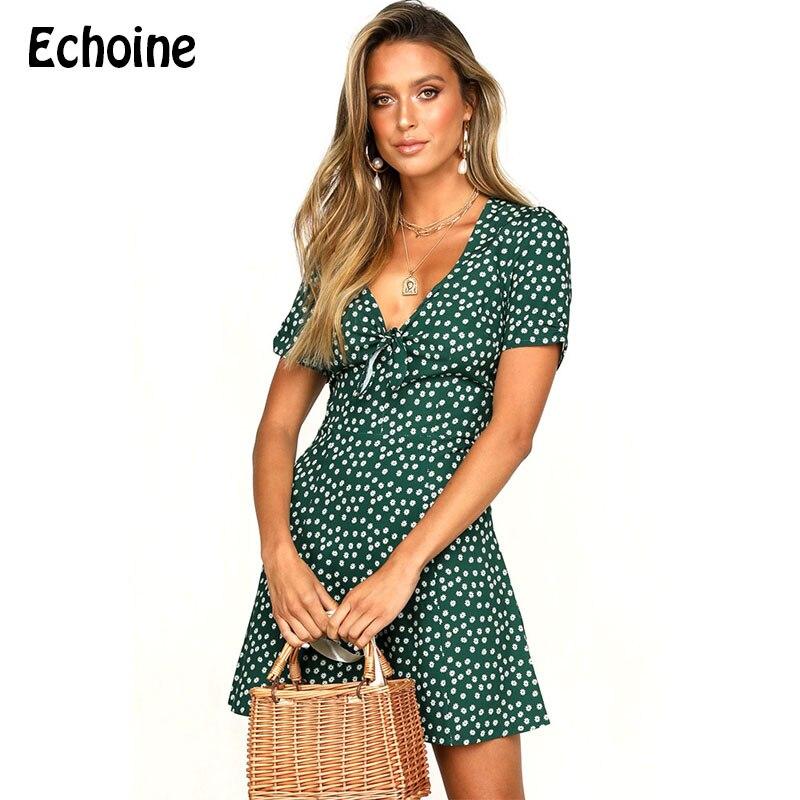29e814f025c7910 Эхоин женские летние платья в стиле бохо с цветочным принтом в горошек  Deess сексуальное мини-