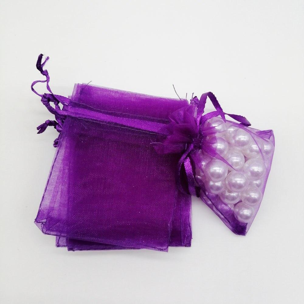 500pcs Organza-Bags Dark Purple Organza Gift Bags For Jewelry Packaging Display Christmas Wedding Jewelry Storage Drawstring Bag