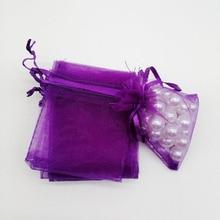 500pcs אורגנזה שקיות כהה סגול אורגנזה שקיות מתנת תכשיטי אריזת תצוגת חג המולד חתונה תכשיטי אחסון שרוך תיק