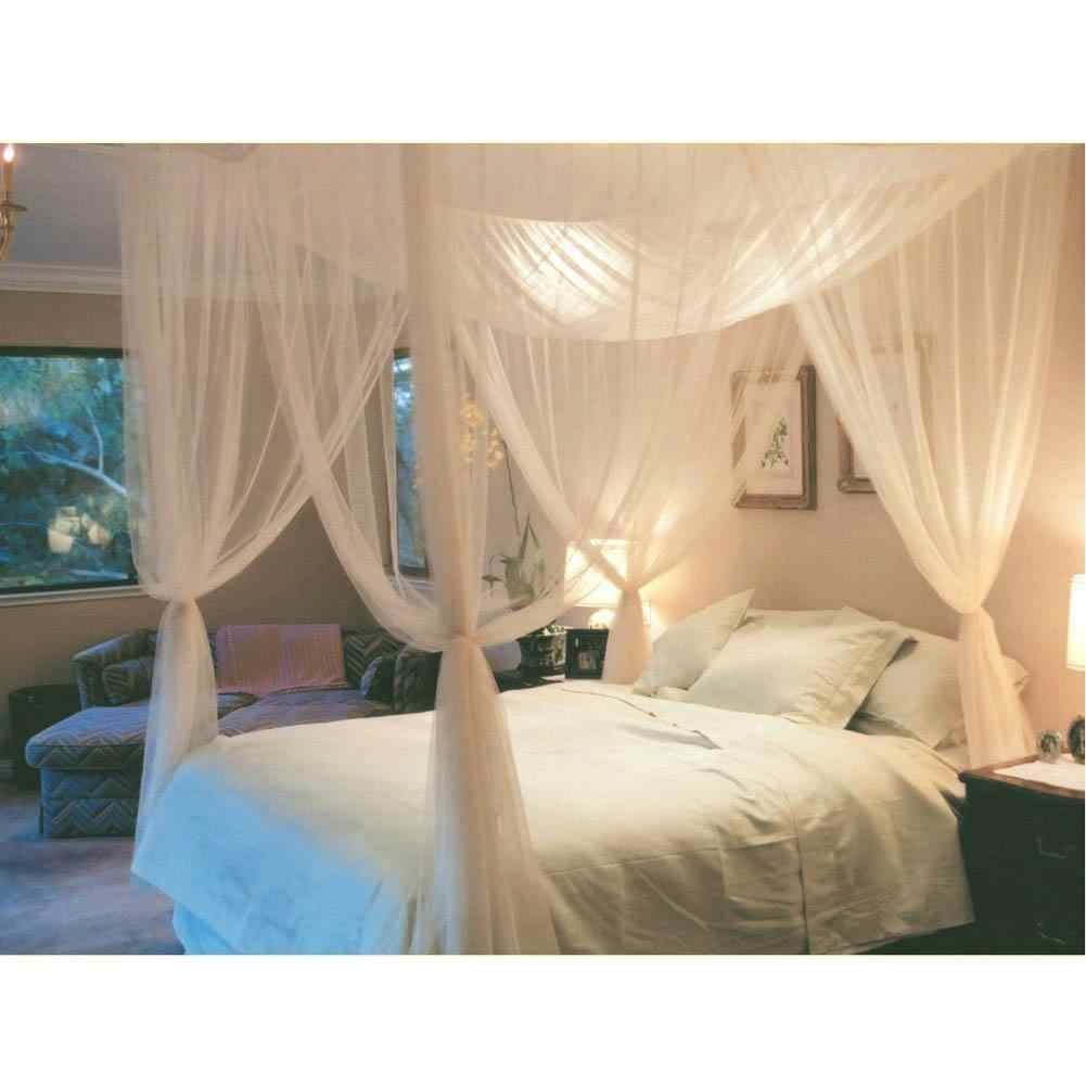- White Three Door Princess Mosquito Net Double Bed Curtains