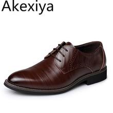 Akexiya Moda Hombres Zapatos Oxford Zapatos de Cuero Genuino de la Alta Calidad, Con Cordones de Los Hombres Zapatos de Vestir, negocios Zapatos Planos