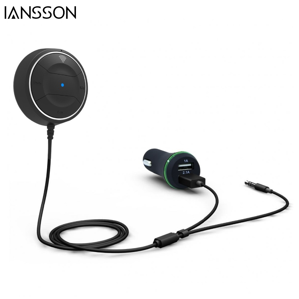 NFC Car Kit Bluetooth 4.0 Audio Music Receiver Wireless Hands Free Dual USB 2.1A Car Charger For
