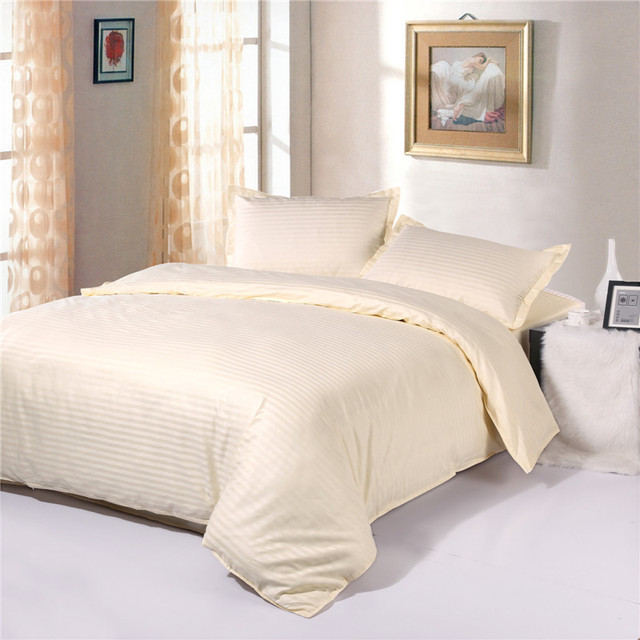 100% Cotton 1cm Satin Cream Colored Hotel Quality Bedding Sets,Duvet Cover  Sets