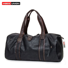 MAGIC UNION Vintage Oil Wax Leather Handbags for Men Large-Capacity Portable Sho