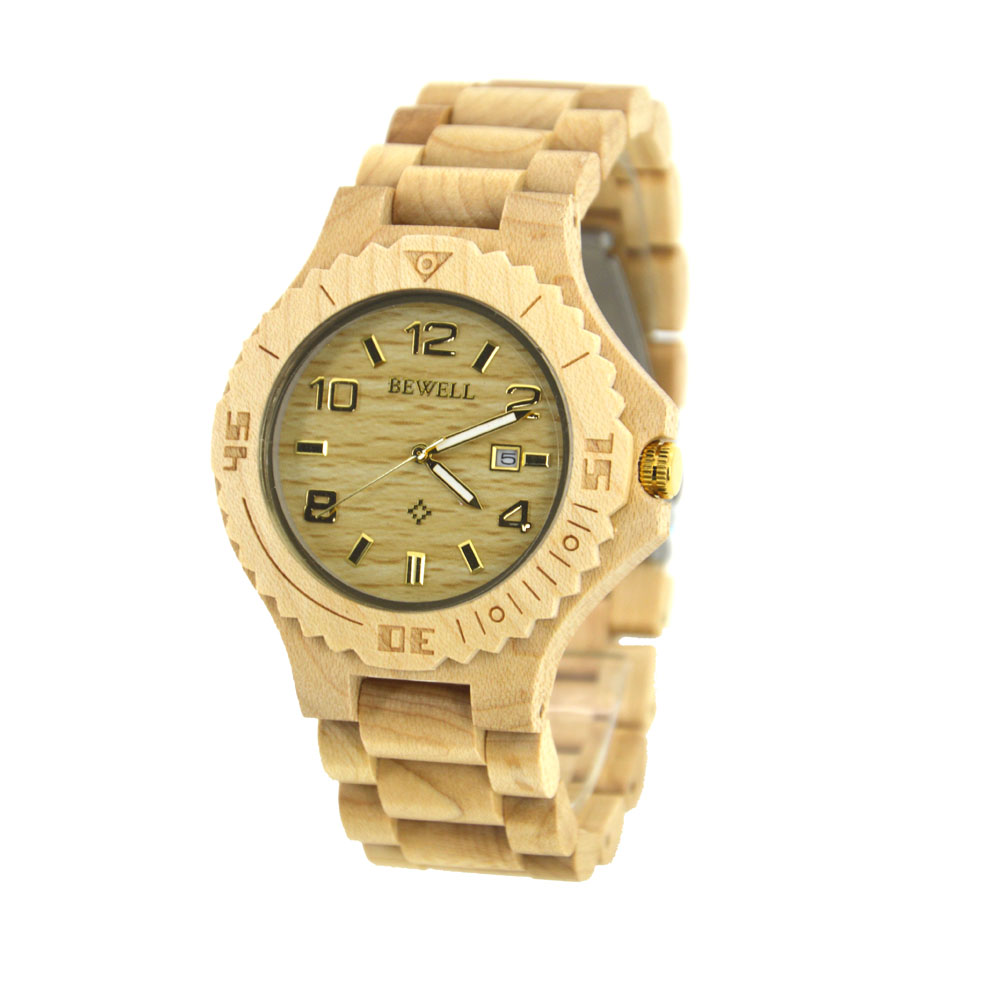 BEWELL Newest Wooden Watch for Men with Date Display Luminous Pointers Perfect Gift for Men Watches 2018 Luxury Brand Wood 023B