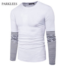 Patchwork T-shirt Men Hip Hop Tee Shirt Homme 2017 Fashion Striped Sleeve Long Sleeve Tshirt Men Harajuku Casual Mens T Shirts(China)