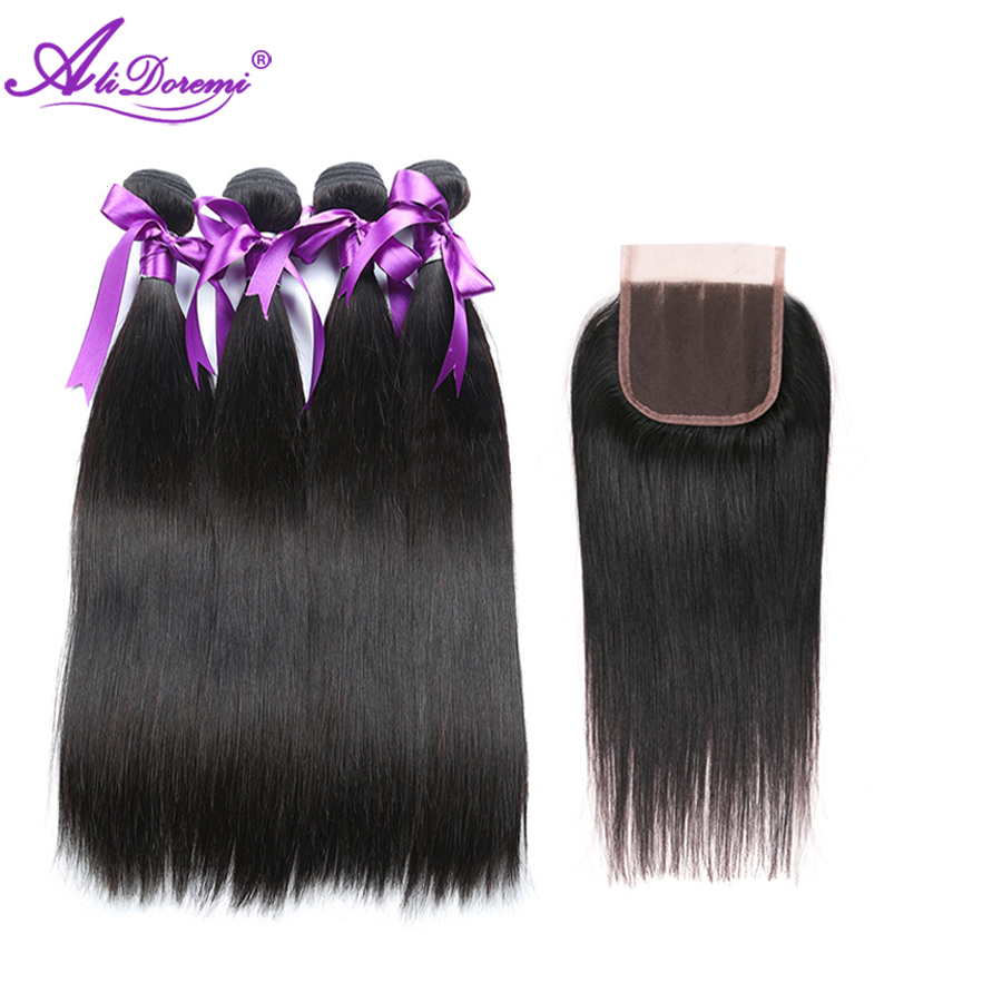 Alidoremi Peruvian Straight hair 4 Bundles With Free Middle Three Part Lace Closure Non remy Natural Color 100 Human Hair Weave