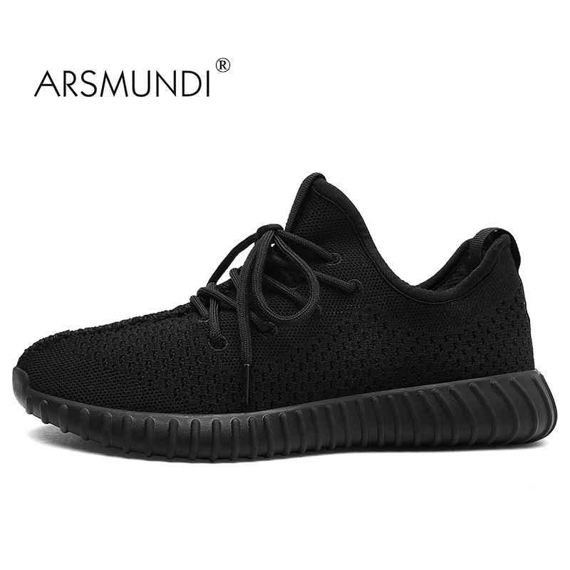 ARSMUNDI Original Men Running Shoes TX-8715 Round Hand Yeezy Shoes For Men Mesh Breathable Sport Gift Men Black Running Shoes kelme 2016 new children sport running shoes football boots synthetic leather broken nail kids skid wearable shoes breathable 49