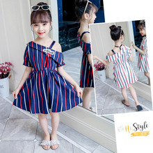 Get more info on the Summer Girl One Shoulder Dress Striped Kids One Shoulder Dress For Girls Party Princess Fancy Clothing Navy White Color 4-13 Age