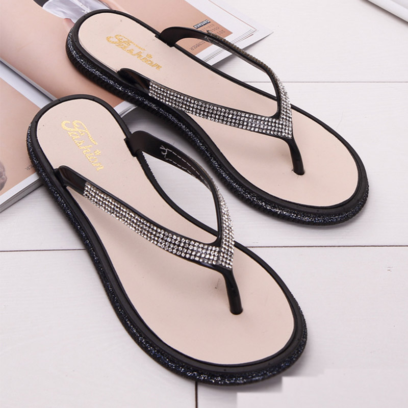 Women Flip Flops Crystal Slippers Flat Fashion Beach Slippers Women Shoes Casual Slides Sandals Woman Shoes Female Lady Slippers