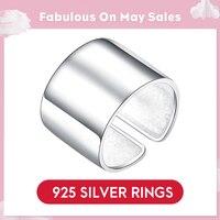 LicLiz 925 Серебряное регулируемое кольцо для женщин кольца пальцы мужчины Простые открытые вечерние ювелирные изделия украшения из серебра 925 ...