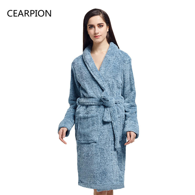 CEARPION Women Sleepwear Winter Warm Flannel Bathrobe Nightgown Long Sleeve Thick Nightwear Femme Casual Home Lounge Wear