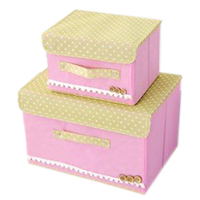 Fabric Cloth Lace Art Storage Organizer Box Glove Compartment Clothes Box With Wooden Button Style Large