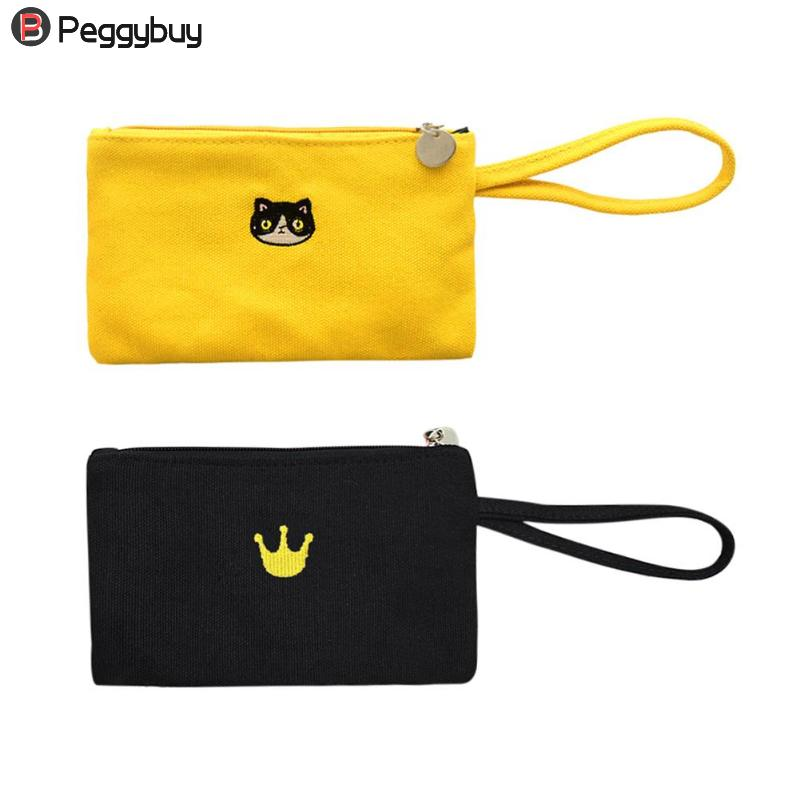Simple Zipper Canvas Women Girls Coin Holder Purse Phone Wristlet Portable Mini Handbag Wallets Clutch for Parties Shopping