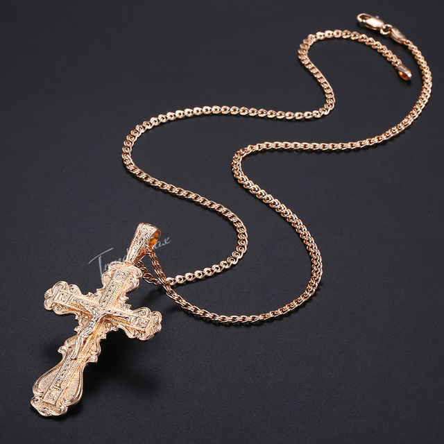 5404a58942417 US $2.99 30% OFF|Womens Mens Cross Pendant Necklace CZ Christian Crucifix  585 Rose Gold Pendant Woman Jewelry Dropshipping Gifts For Men HGP172-in ...