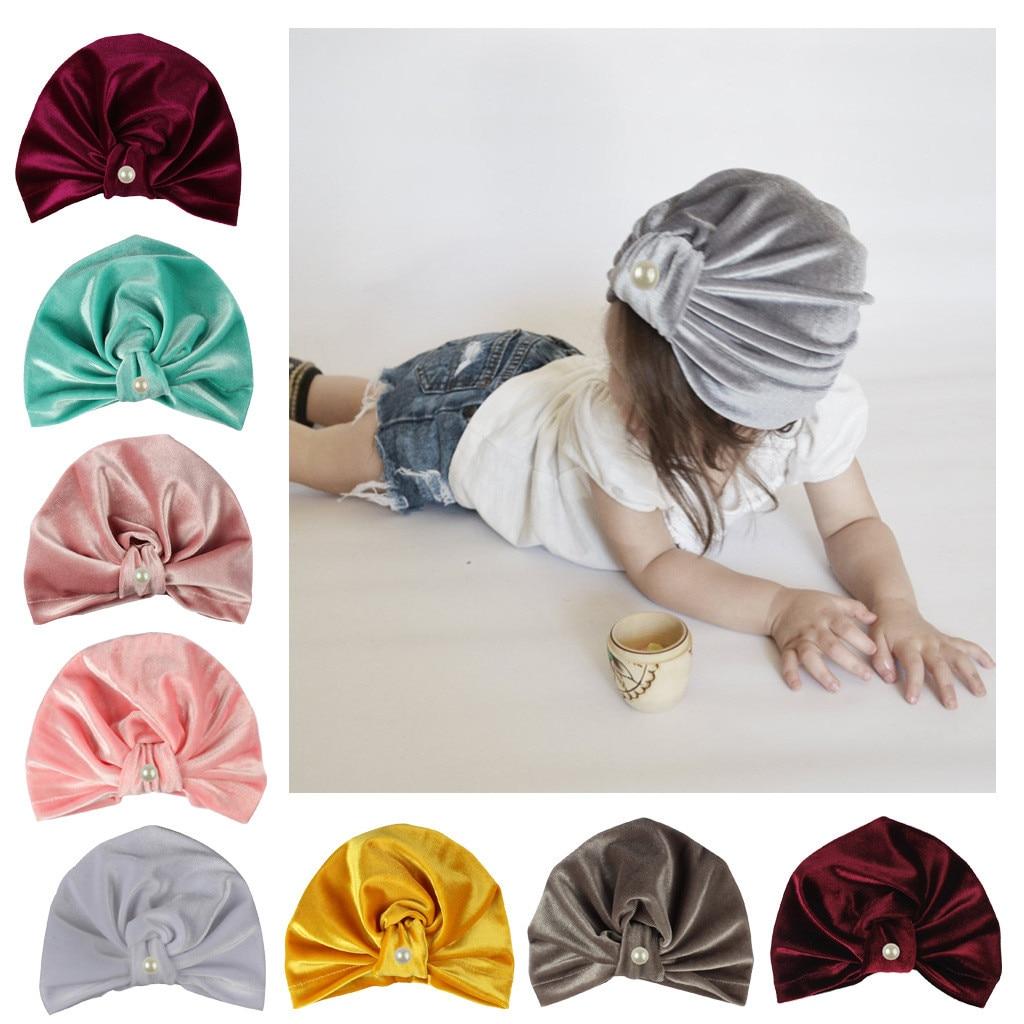 Gold Velvet Knot Children Indian Hat Bandanas Baby Girls Kids Turban Headband Hair Head Bands Wrap Accessories Cap _Z301