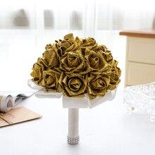 Shining Foam Flower Wedding Bouquets Crystal Rose Flower Bridal Bouquets Handmade Bridesmaid Wedding Accessories de mariage