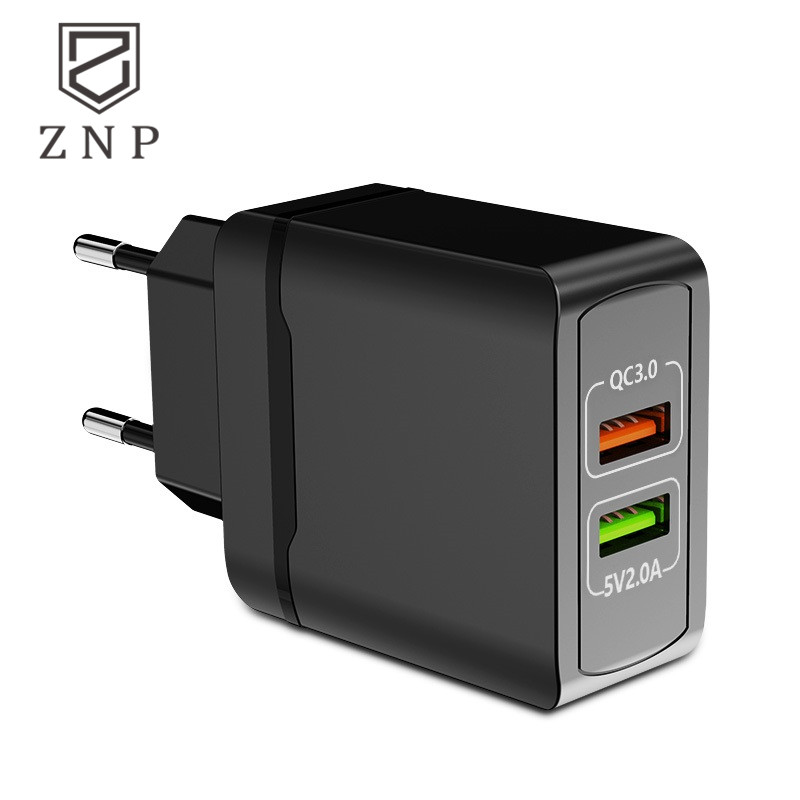 ZNP Universal Dual USB Charger 5V 3.0A Fast Charging Wall Charger Adapter EU Plug Mobile Phone Quick Charger For Samsung Huawei