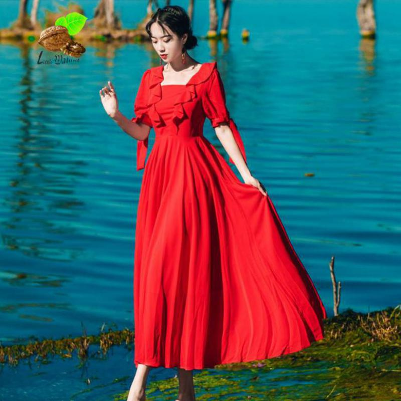New Women Summer Vintage Solid Color Ruffles Square Collar Casual Red Long Beach Dresses Female Retro Lotus Leaf Beautiful Dress