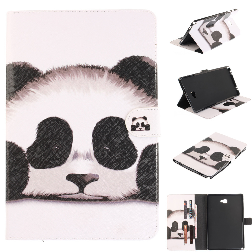 For Samsung Galaxy Tab A A6 10.1 P580 P585 Tablet Cartoon Print Case Soft TPU + PU Leather Stand Card Holder Protector Cover