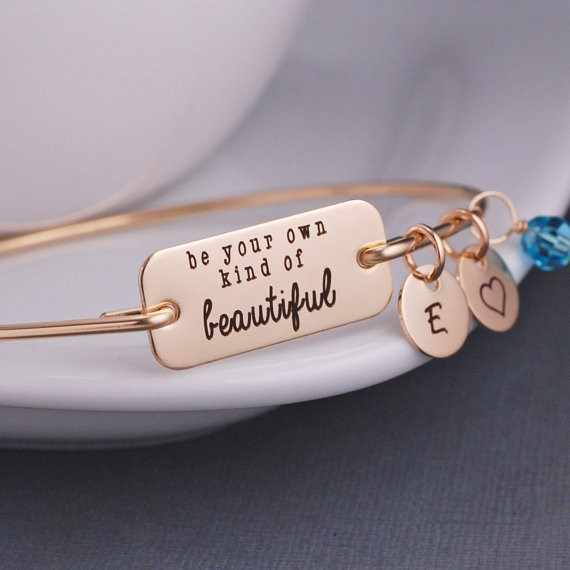 Initial A-Z Be your own kind of Beautiful Spring Summer Hot Sale Inspirational Bangle Bracelet Jewelry YLQ0383