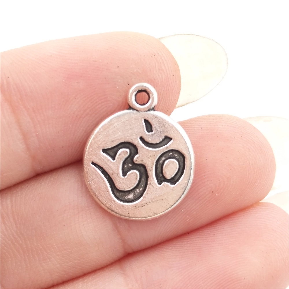 BULK 30 Zinc Alloy Metal Yoga Symbol Om Ohm Aum Charms Antique Silver Tone Round Tag Pendant 13*16mm 1.1g